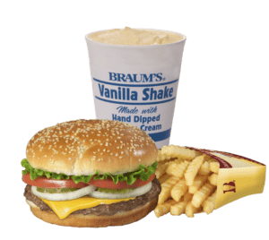 Cheeseburger, fries, Shake