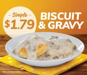 single biscuit & gravy $1.79